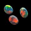 Black Opal Set in red Lightning Ridge